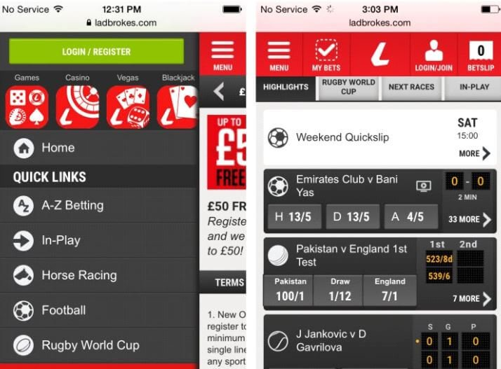 Ladbrokes applicatie